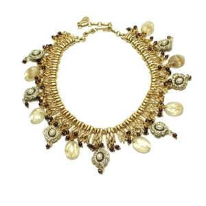 Gold Princess Statement Necklace Repurposed